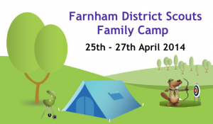family camp logo with things in