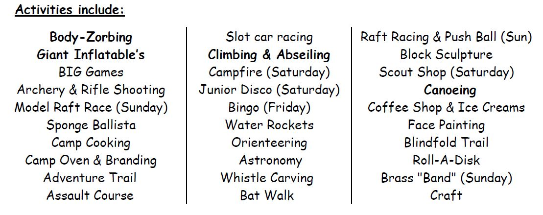 Family Camp 2015 Activities List