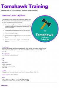 Surrey Tomahawk Training - FULLY BOOKED @ Polyapes Scout Camps | England | United Kingdom